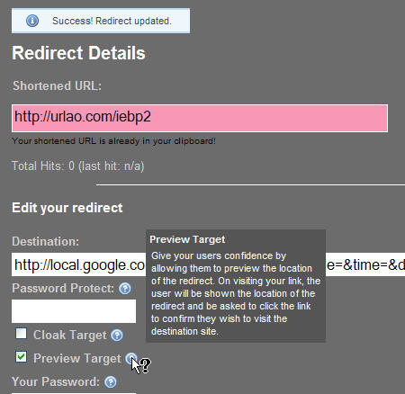 Short URL Example (using URLao.com)
